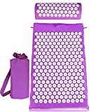 Back and Neck Pain Relief - Acupressure Mat and Pillow Set - Relieves Stress, Back, Neck, and Sciatic Pain - Comes with a Vinyl Carry Bag for Storage and Travel