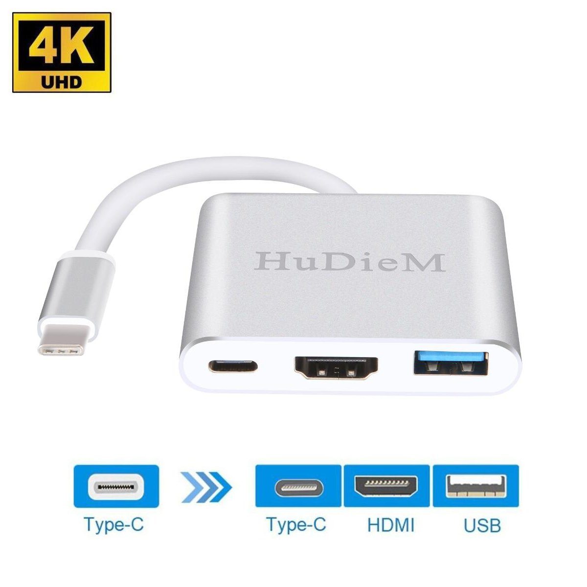USB-C to HDMI Adapter 4K, HuDieM USB 3.1 Type C to HDMI Multiport AV Converter with USB 3.0 Port and USB C Charging Port for Macbook/Chromebook Pixel/Dell XPS13/Samsung Galaxy s8/s8 Plus (Silver)