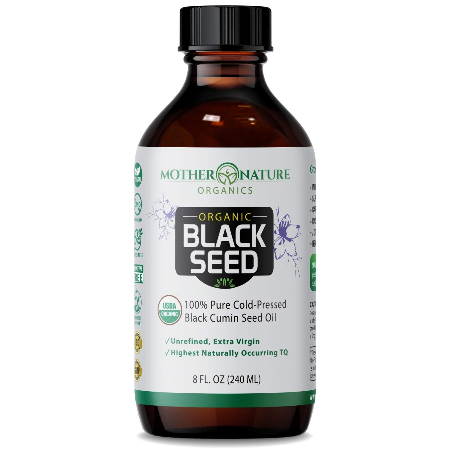 Black Seed Oil - Premium Organic Cold-Pressed Cumin Nigella Sativa (8 oz) - for Immunity Support, Joints, Digestion, Hair & Skin - Extra Virgin, Gluten-Free, Non-GMO & Vegan with Omega 3,6, & 9