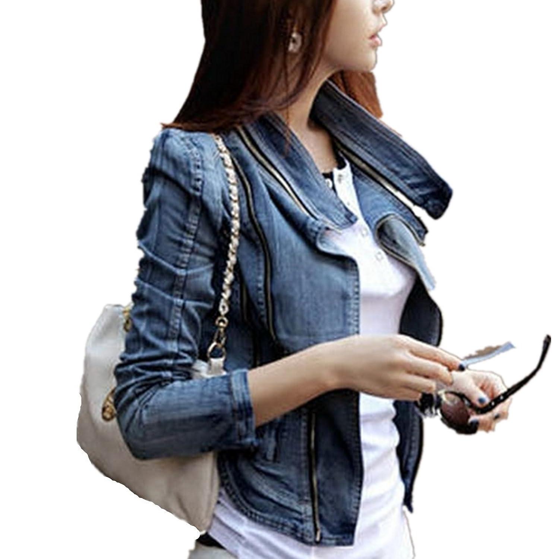 LOBTY Damen Jeans-Jacke Blouson Übergangsjacke Denim Mantel Outwear Trenchcoat Frühling Kurz Jack