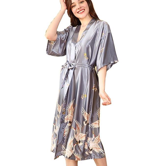 BOYANN Ropa de Dormir Erótica para Mujer Sexy Batas y Kimonos de Satén Gris XXXL: Amazon.es: Ropa y accesorios