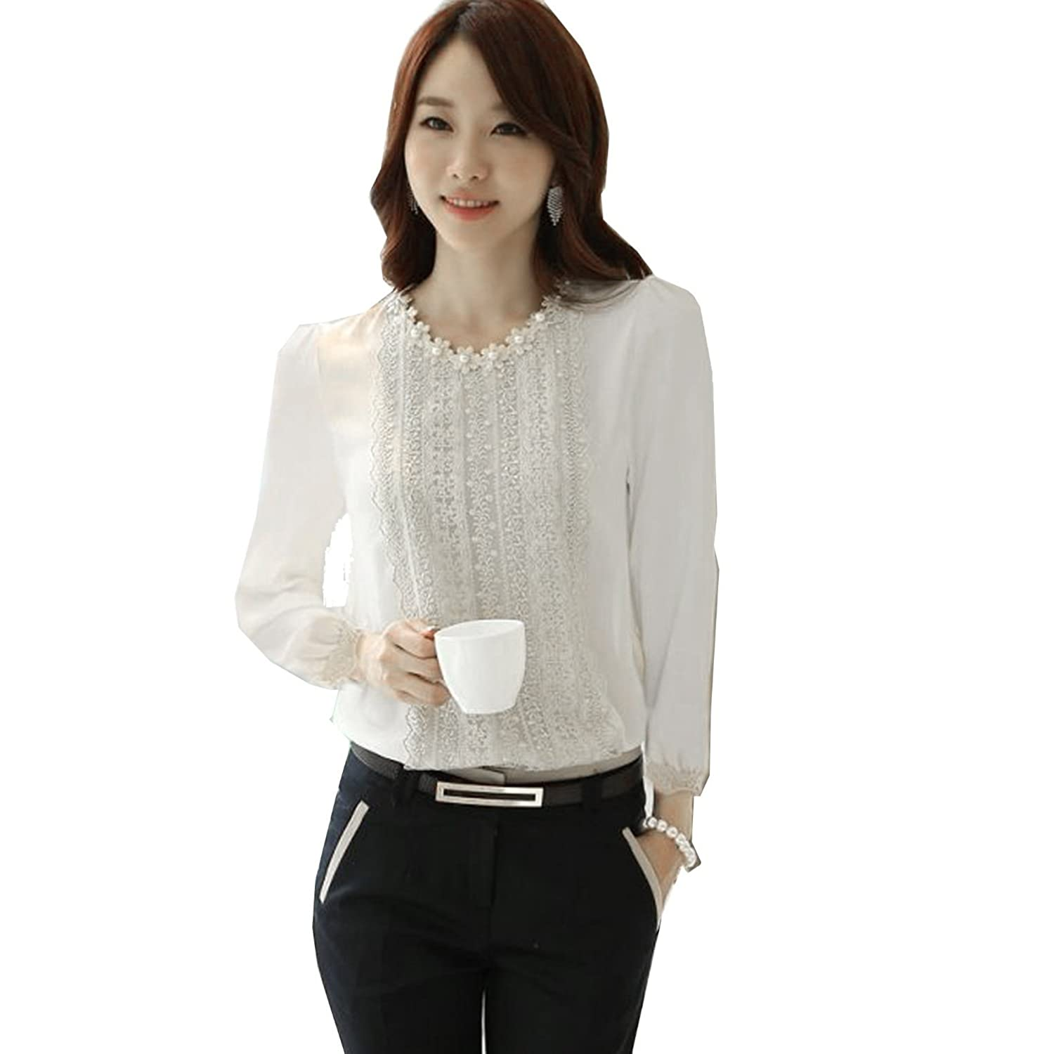 ACEFAST INC Women's Casual Long-Sleeved OL Patchwork Autumn Occupation Shirt