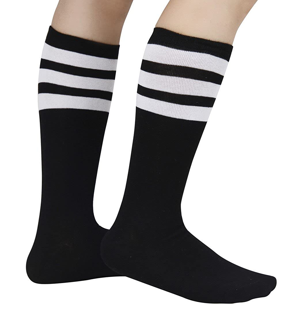 Eleray 1 to 3-Pack Classic Triple Stripes Soft Cotton Knee High Tube Socks