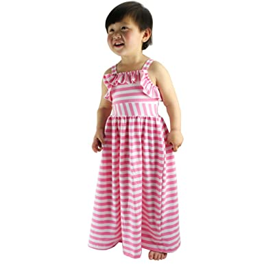 ad3e3b2bd Amazon.com  Wennikids Beach Dress Maxi Dresses Girls Striped Long ...