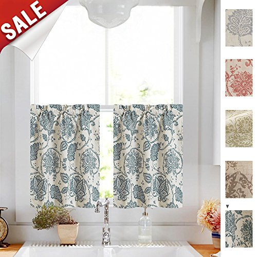 (jinchan Tiers Curtains Floral Scroll Printed Linen Drapes - Ikat Flax Textured Medallion Design Jacobean Floral Printed Curtains Retro Living Room Curtain Sets (Teal, 45 Inch Long, One Pair))
