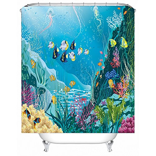 Blue Ocean Tropical Fish Coral Undersea World Waterproof/Mildew Resistant Polyester Fabric Shower Curtain for Kids with 12 Hooks (Curtain Undersea Shower)