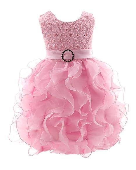 LaoZan Floreale Senza Maniche Ragazze Vestono Principessa Abiti Partito Vestito  Increspatura Abito Pink S   0 1235432840f