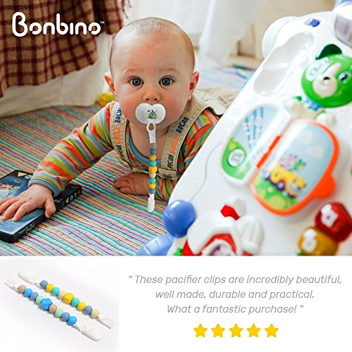 Teether Pacifier Clips - (2 Pack) Silicone Pacifier Holders for MAM, Nuk & Soothie - Fun, Colorful and BPA-Free - Boys Pacifier Holder (Sea Blue + Turquoise Lemon) by Bonbino (Image #5)