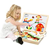 Wooden Double Side Dry Easel Drawing Writing White/Black Board Magnetic Jigsaw Puzzle Game Toy Set Birthday Christmas Gift for Boys Girls Kids Age 3 4 5 Years Old, People Set