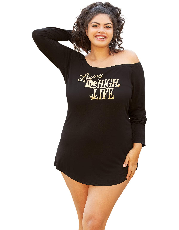 High Demand Women's Plus Size Cozy Screen Print Black Jersey Dress-1X/2X