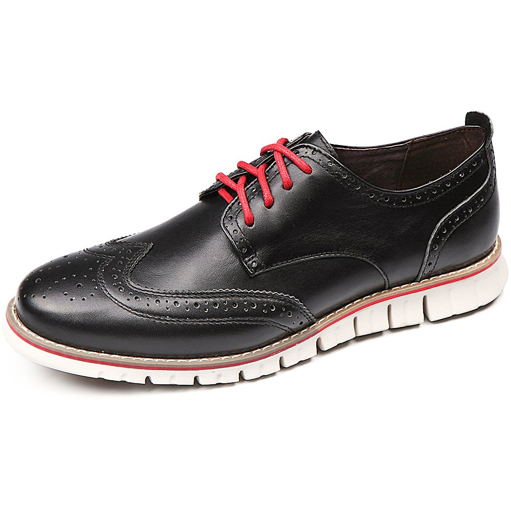 Laoks Men's Brogues Oxford Wingtip Genuine Leather Dress Shoes for Business Casual Lace-up Black