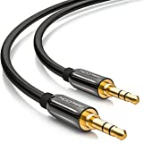 deleyCON 3m HQ Stereo Audio Klinken Kabel - 3,5mm Klinken Stecker zu 3,5mm Klinken Stecker - METALL - vergoldet