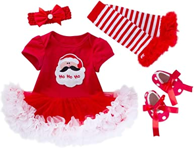 Reborn Baby Girl My First Christmas Santa Romper Sequin Tutu Dress Kids Outfits