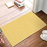 18 x 30 Inch Modern Herringbone Geometric Yellow Door Mats Kitchen Floor Bath Entrance Rug Mat Absorbent Indoor Bathroom Decor Doormats Rubber Non Slip