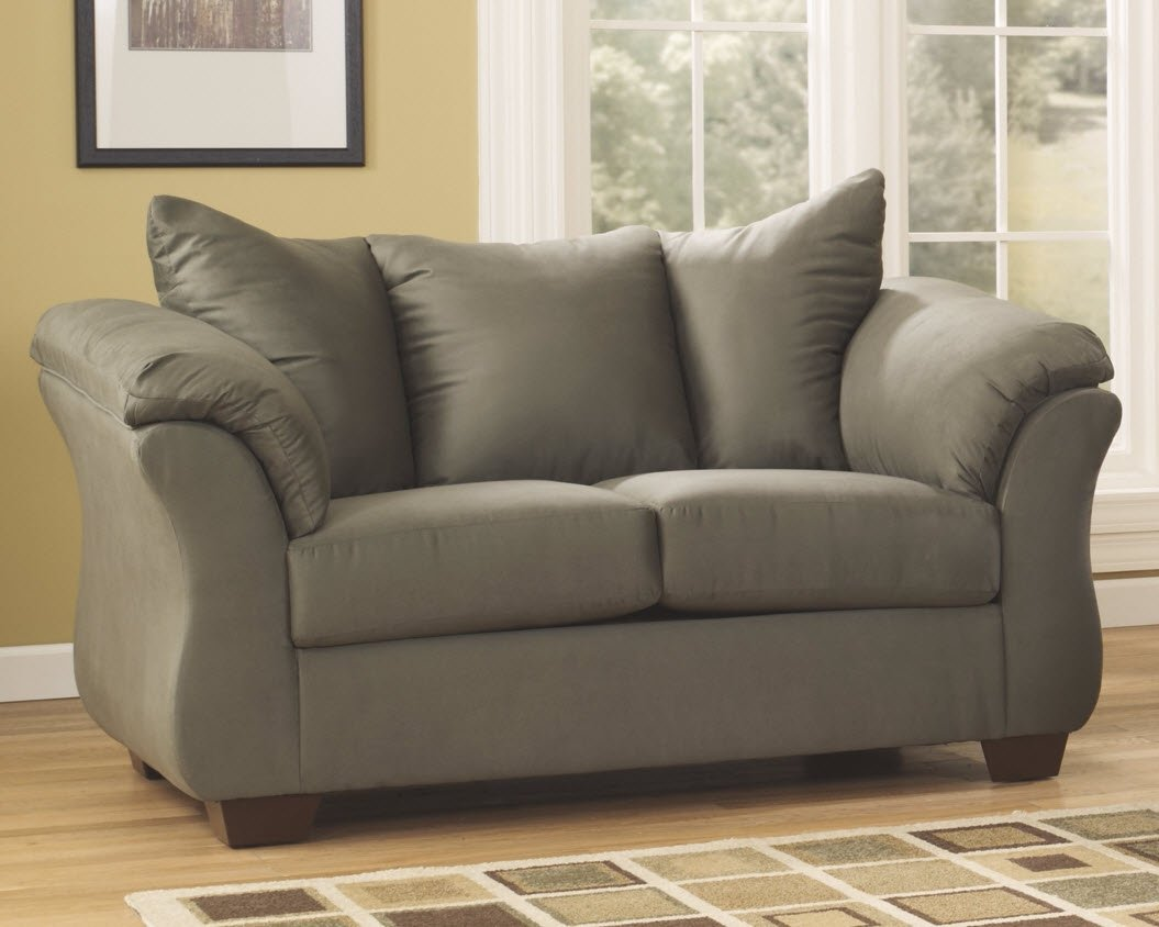 Ashley Furniture Signature Design – Darcy Love Seat – Contemporary Style Microfiber Couch – Sage