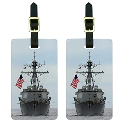 United States Navy Destroyer Luggage Tags Suitcase Carry-On ID Set of 2