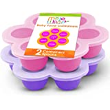 Best Homemade Baby Food Storage Container Freezer Trays - Reusable Food Container Silicon Tray With Clip On Lid - 2 Pack Bundle With 2 Bonus Spoons - BPA Free FDA Approved 2.6 Ounce - Purple & Pink