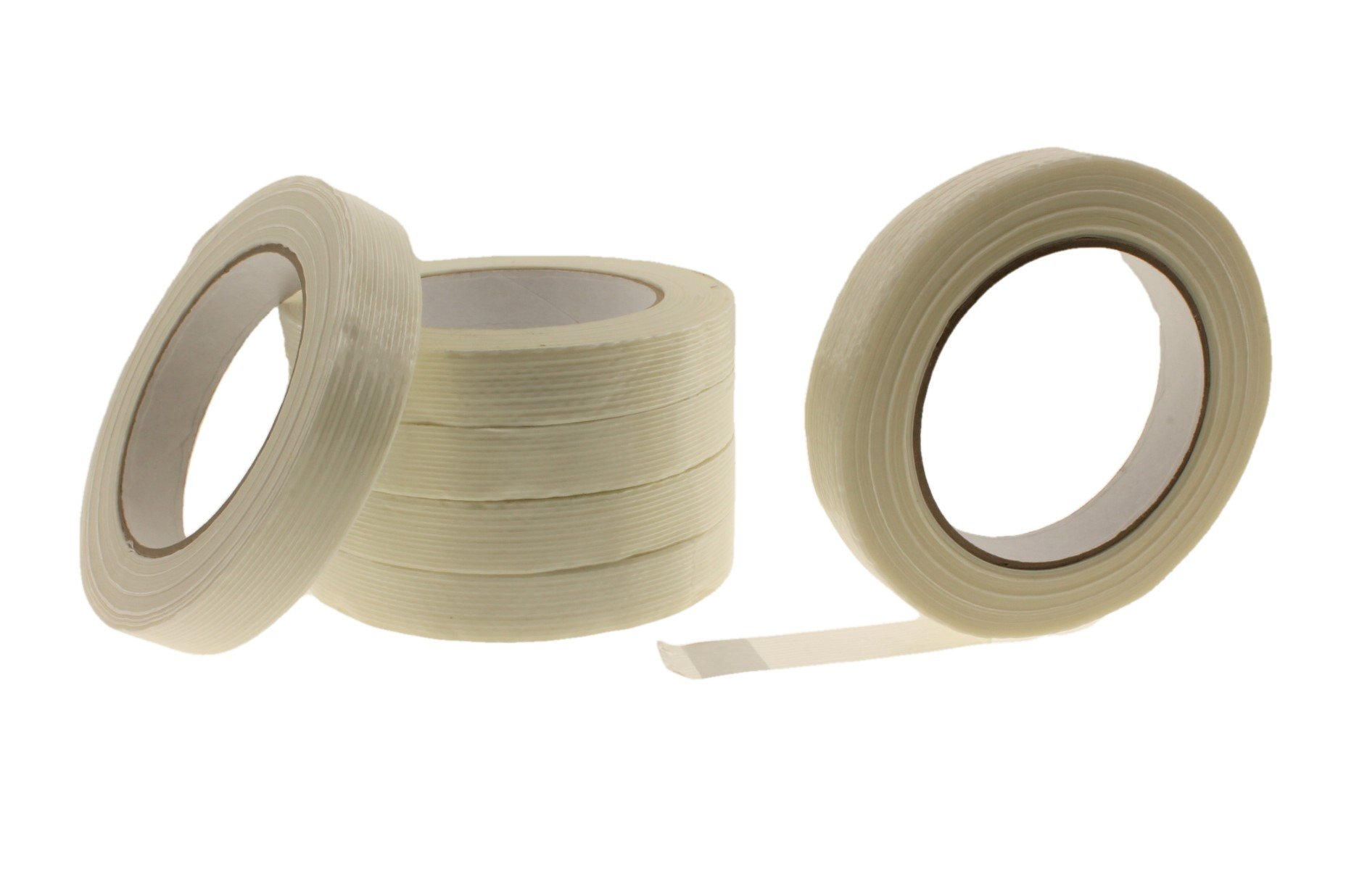 6pk 3/4'' in Filament Strapping Tape Medium Duty 125 lb. Fiberglass Glass Strand Reinforced Tape 4.3 Mil Packing Bundling Steel Concrete Palletizing Holding Moving .75 inch 18 MM