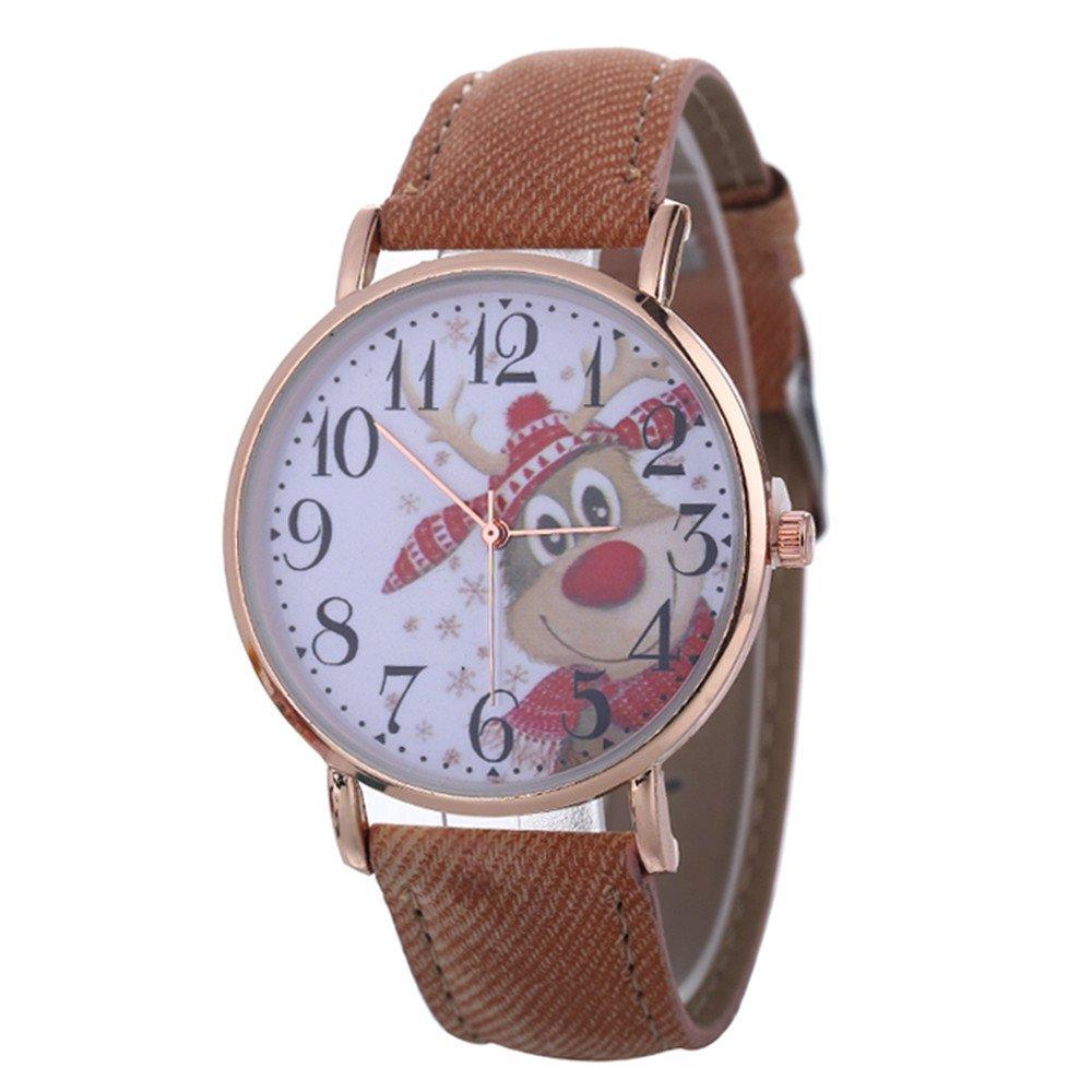 Women Christmas Pattern Quartz Watch Leather Strap Belt Table Watch,Outsta Bracelet Strap Analog Watch (Brown)
