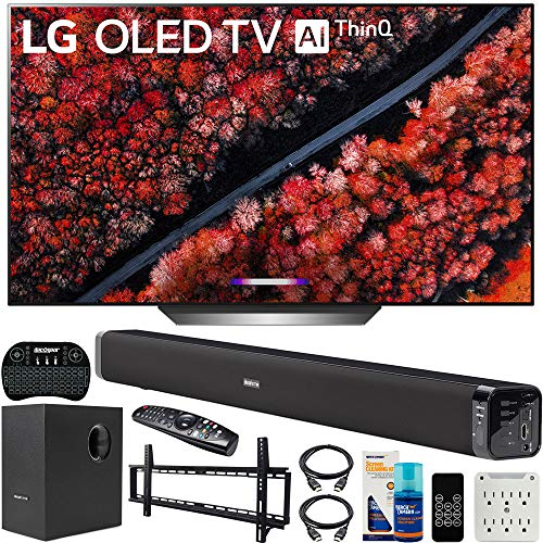 LG OLED77C9PUB 77-inch C9 4K HDR Smart OLED TV with AI ThinQ (2019) Bundle with Deco Gear 60W Soundbar with Subwoofer, Wall Mount Kit, Deco Gear Wireless Keyboard and 6-Outlet Surge Adapter
