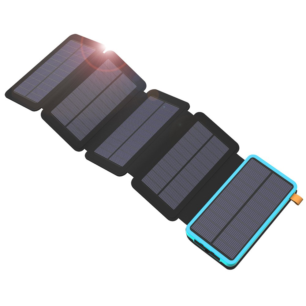 X-DRAGON 20000mAh Portable Solar Charger Power Bank with 5 Foldbale Solar Panels, Dual USB, LED Flashlight Waterproof External Battery Compatible with iPhone, Cell Phones, ipad and More-Blue