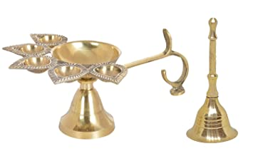 Buy Kabello Deepak Aarti With Bell Mandir Decorations Items Jyot