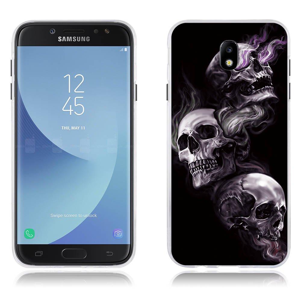 Funda Samsung Galaxy J7(2017) J730F/J7pro Carcasa Ultra Fino de Cristal Claro, Dibujo Rosa Fantasía Rojo Claro, Duradera, Suave al Tacto, Flexible, [Antipolvo] [Resiste A los Arañazos] [Protección Goma de Alta Calidad] Carcasas para Samsung Galaxy J7(2017