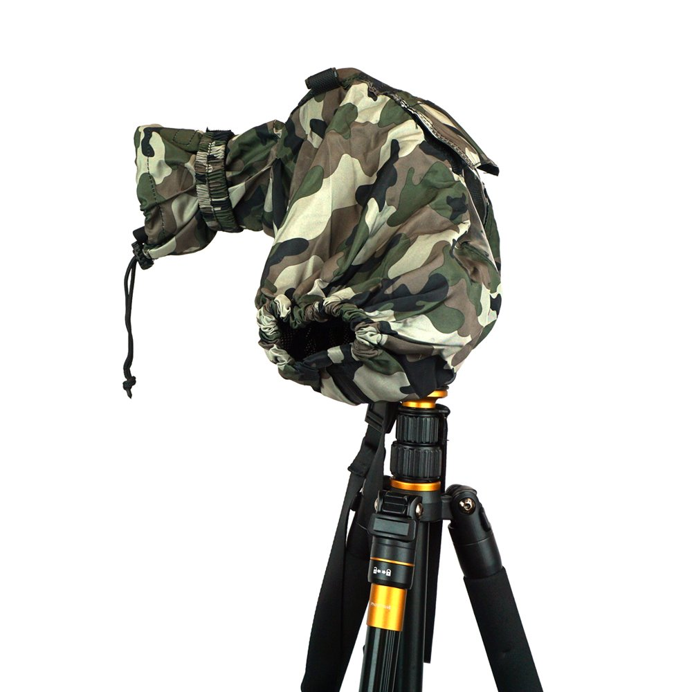 FoRapid Deluxe Professional Camera Rain Cover Rain Jacket Raincoat Waterproof Protective Cover Sleeve for Canon Nikon Sony Panasonic Pentax Olympus Fuji DSLR with Long Lens Forest Green Camo