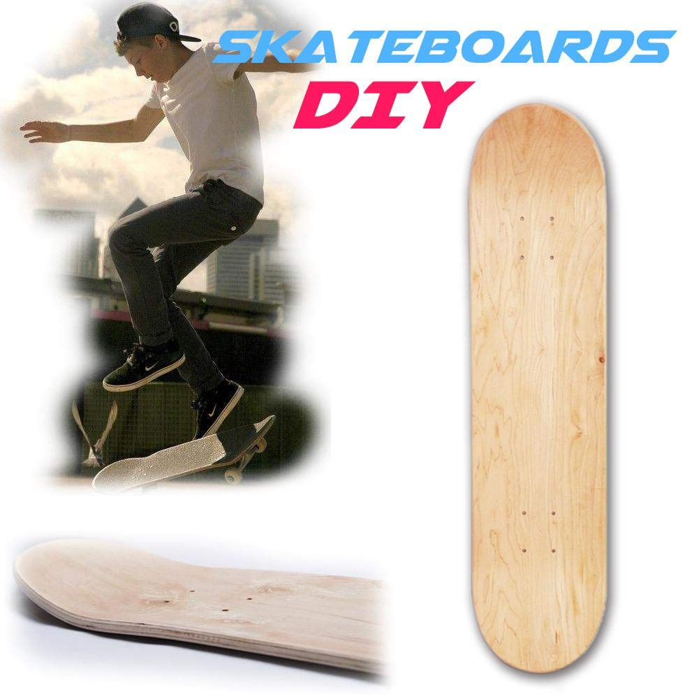 Lucky-all star Deck Skateboards 8 Strati, Skateboard concavo Doppio Bianco Skateboard Skate Natural 8in