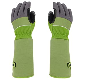Rose Pruning Thorn-Proof Gardening Gloves with Forearm Protection for Men and Women. Puncture Resistant Gardening Glove (Large-green)