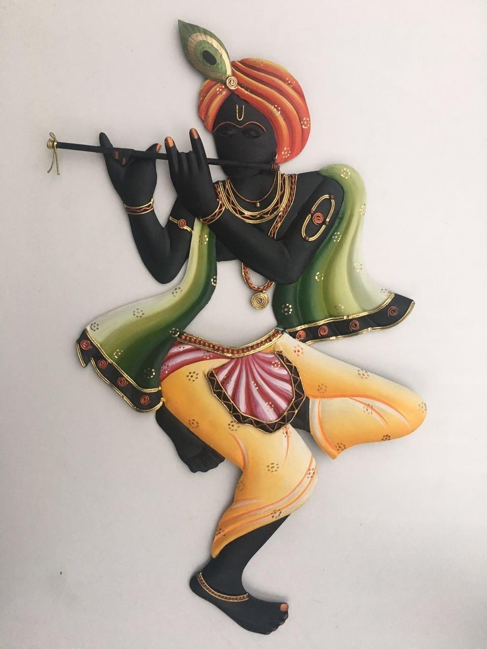 8269222aab9 Buy Karigaari Creative Dancing Krishna Iron Wall Hanging (40.64 cm x 5 cm x  55.88 cm) Online at Low Prices in India - Amazon.in