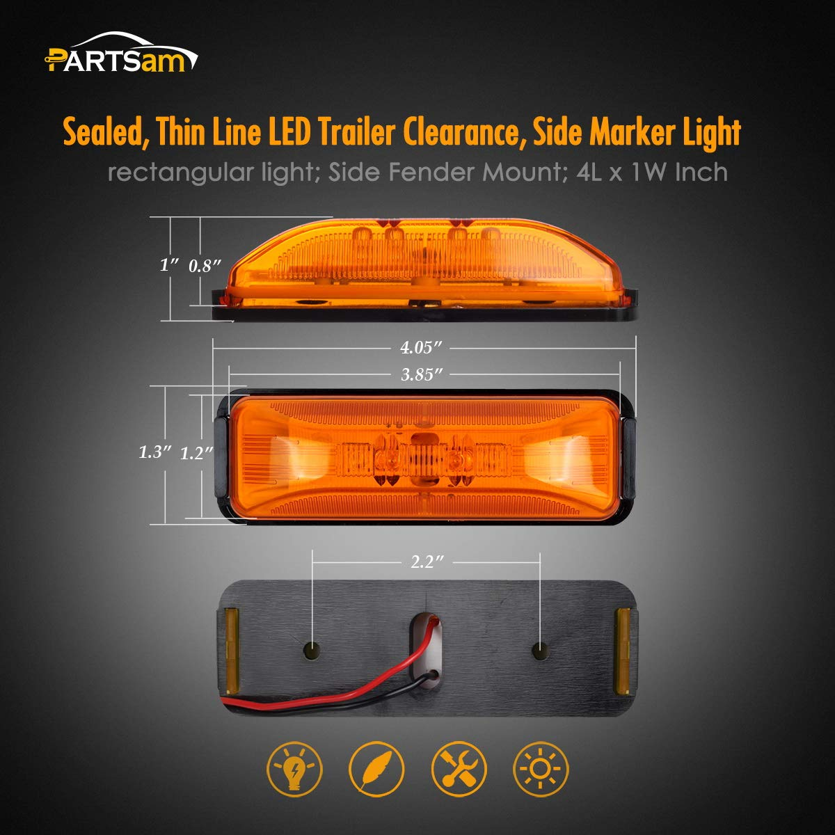 2 prong base 1 12 diode LED Light 1x4 Surface AMBER Clearance Marker trailer