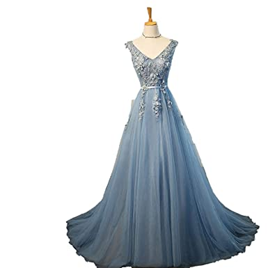 59c20fc90c8 Elie Saab Blue Evening Dresses Plus Size Tulle Appliques Dresses Gowns V  Neck Lace up Sleeveless Rob at Amazon Women s Clothing store