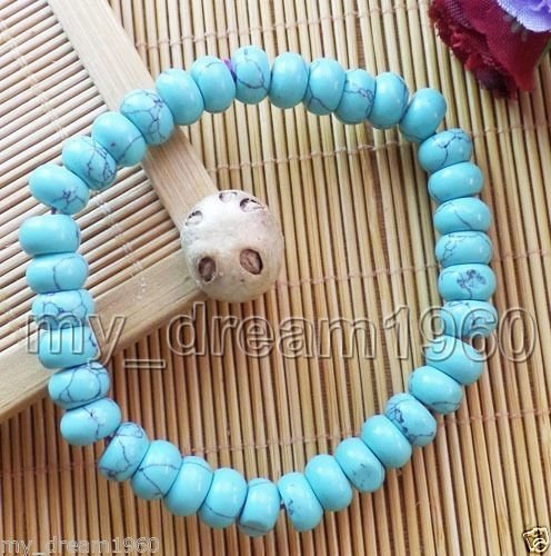 5x8mm Natural Blue Turquoise Abacus Beads Gem Stretchy Bracelet 7.5''