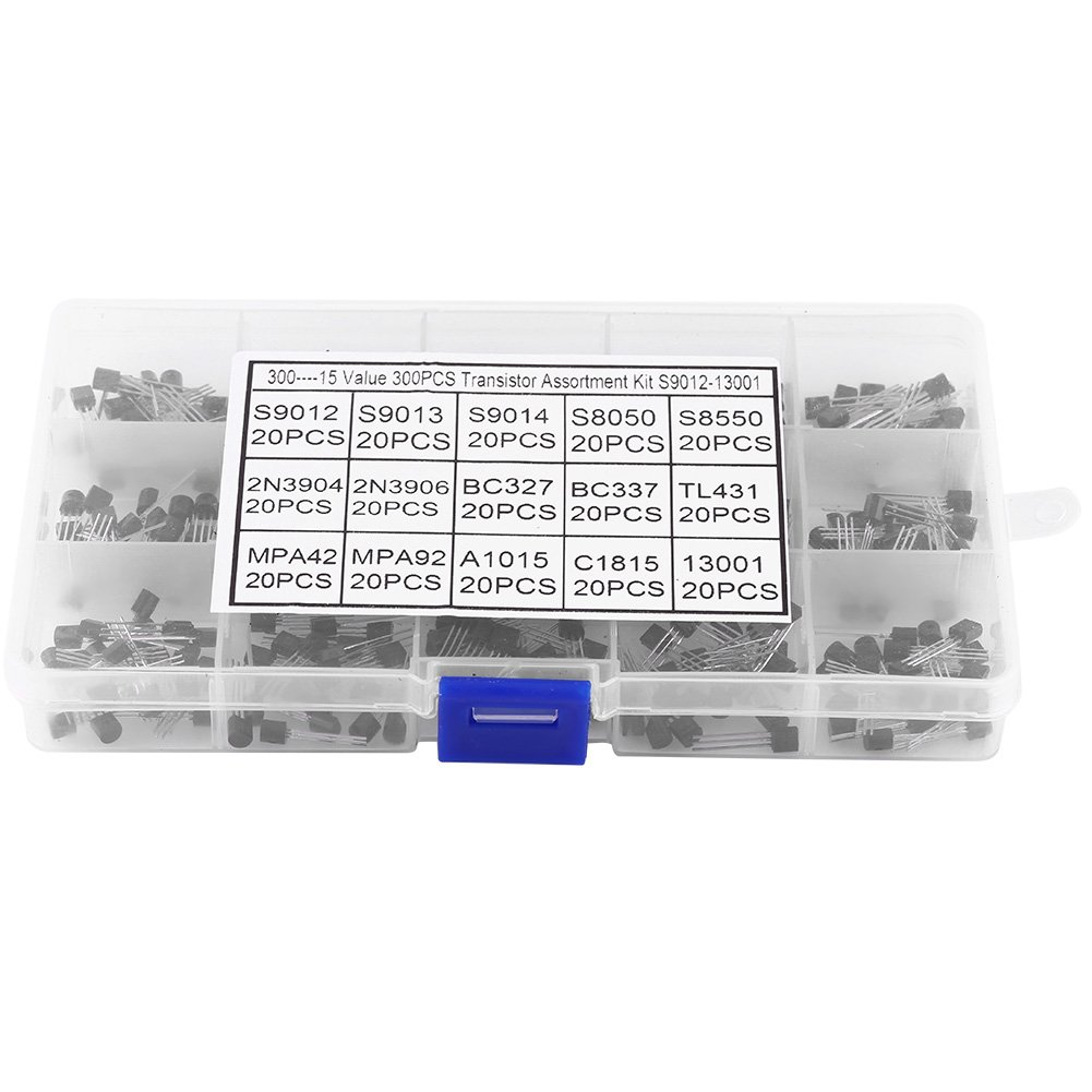 300Pcs 15 Values TO-92 Transistors, Pack Transistor Assortment Kit With Storage Box Walfront