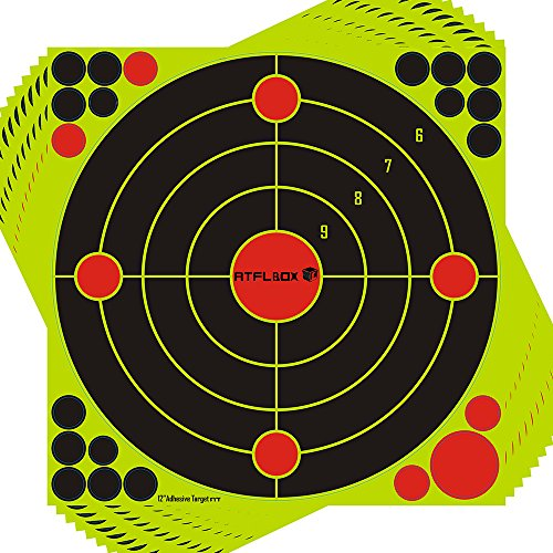 Atflbox Shooting Target 12Inch Bulleye Super Splatter and Adhesive Target.Shooting outdoor and indoor ranges.Rective shooting targets for Gun - Rifle - Pistol - AirSoft - Air Rifle for 25Pack by Atflbox (Image #1)