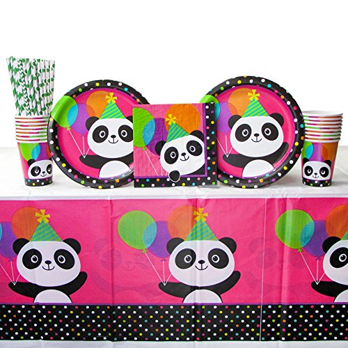 (Cedar Crate Market Panda-Monium Party Supplies Pack 16 Guests Includes: Straws, Dinner Plates, Luncheon Napkins, Cups Tablecover (Bundle 16))