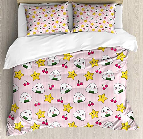 CHASOEA Kids Duvet Cover Set King Size, Cute Japanese Food Icons Rice Ball Cherries Asian Kawaii Anime Pattern Design Floral Duvet Cover and Pillow Shams Bed Set, Pink Multicolor