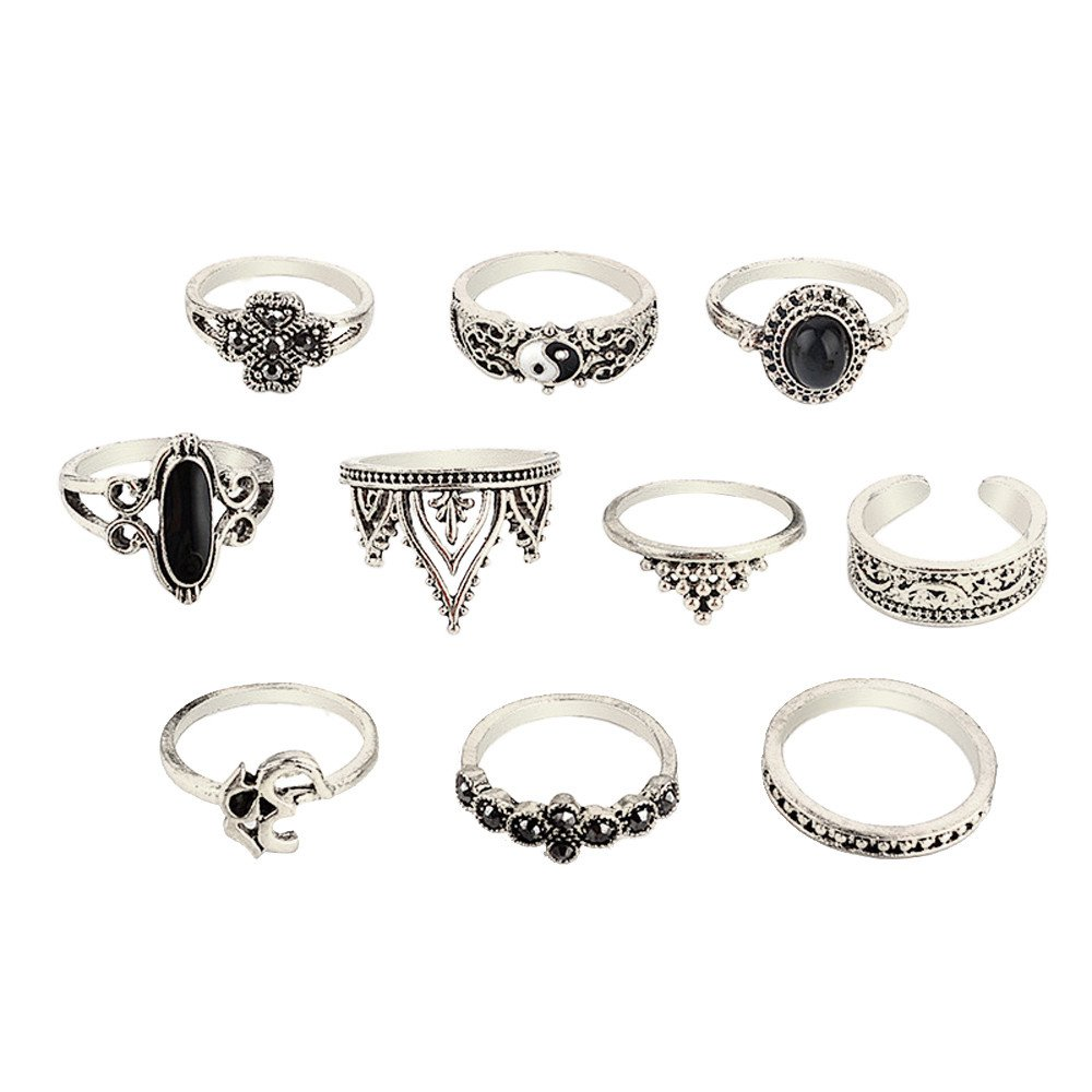 Yiwanjia 10pcs Women Bohemian Vintage Open Silver Stack Rings Above Knuckle Jewely Rings Set (Free,Silver)
