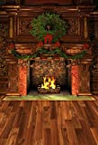 COMOPHOTO Chirstmas Theme Photography Backgrounds Children Photo Backgroung Brown Wood Floor Fireplace Backdrop for Photo Studio Prop 5x7FT