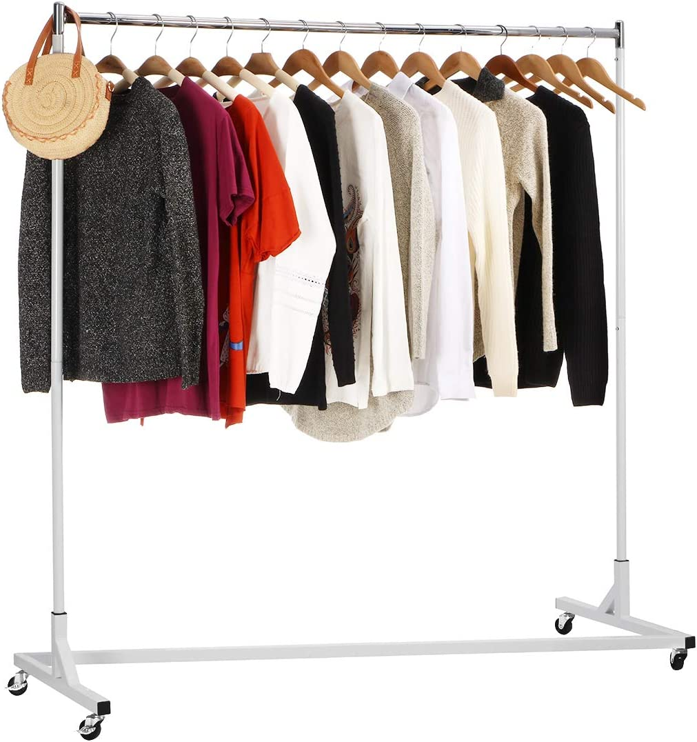 "KINGSO Rolling Garment Rack Industrial Grade Z-Base Clothes Garment Rack, Heavy Duty Clothing Rolling Rack on Wheels, 400lbs Load with 63"" Extra Long Bar"
