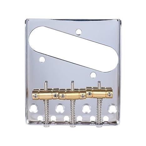 ammoon 3 Sillín de Cobre Puente Cenicero Colgante Cromado para Telecaster TELE Guitarra Eléctrica Repuesto con