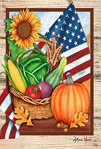 (Toland Home Garden American Harvest 28 x 40 Inch Decorative Summer Fall Vegetable USA House Flag)