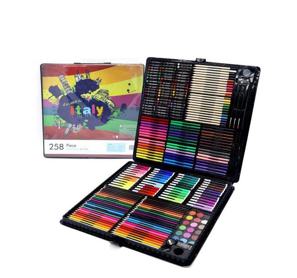 Premium Art Set, 258 Malutensätze für die Grundschule, Pinsel, Aquarellstifte, Schreibwaren