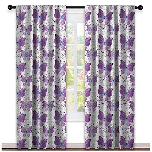 Butterfly Shading Insulated Curtain Surreal Star Patterned Background with Polygonal Butterflies Modern Soundproof Shade Purple Pale Blue White