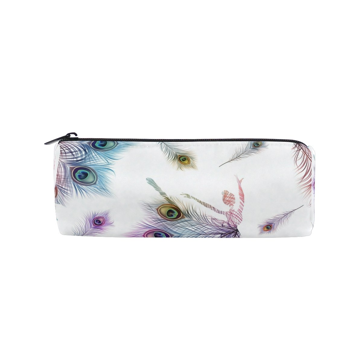 Cooper Girl Watercolor Peacock Feather Pencil Bag Pen Case Students Stationery Pouch Zipper Bag for Girls Boys Kids