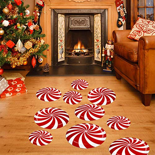 Outus 16 Pieces Peppermint Floor Decals Stickers Candy Wall Decal with Scraper for Christmas Party Decoration Supplies Style 1