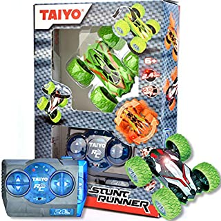 Thin Air Brands Taiyo Mini 4X4 RC Stunt Runner Car for Indoor or Outdoor Racing - 4WD, 1:40 Scale, 2.4GHz Rechargeable Remote Control Race Car - Ages 6+, Green