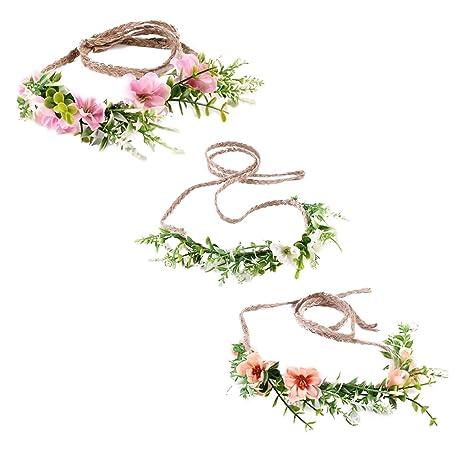 Chaussures 2018 vente pas cher le plus populaire Ever Fairy couronne fleur bandeau bébé fille enfant en bas âge feuille  verte feuille couronne florale couronne (Ensemble de 3 couleurs)