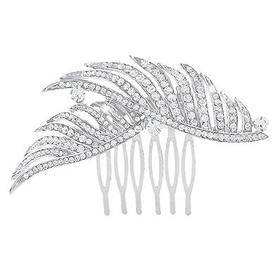 EVER FAITH Austrian Crystal Wedding 1920s Style Dual Peacock Feather Hair Comb Clear Silver-Tone